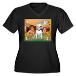 Angels & Bull Terrier #1 Women's Plus Size V-Neck
