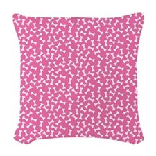 Dog Bone Pink Woven Throw Pillow