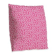 Dog Bone Pink Burlap Throw Pillow