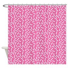Dog Bone Pink Shower Curtain