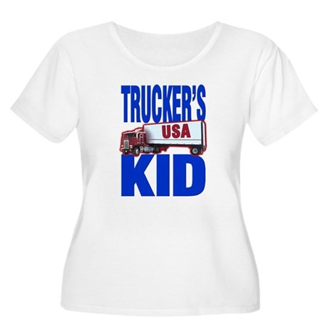 """Trucker's Kid"" Women's Plus Size Scoop Neck T-Shi"