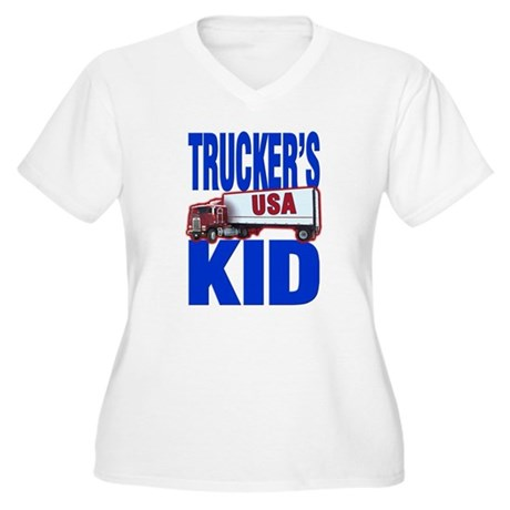 &quot;Trucker's Kid&quot; Women's Plus Size V-Neck T-Shirt