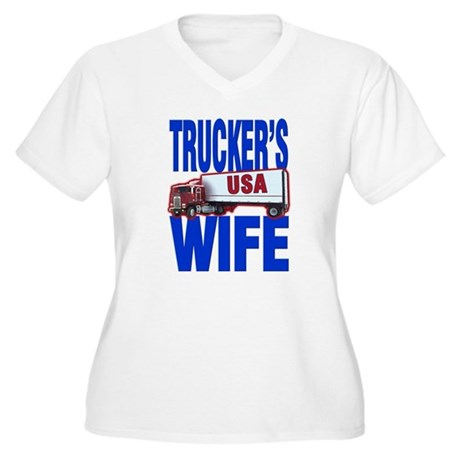 &quot;Trucker's Wife&quot; Women's Plus Size V-Neck T-Shirt