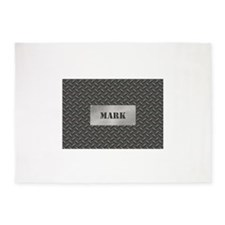 Faux Steel Name Plate Personalized 5'x7'Area Rug