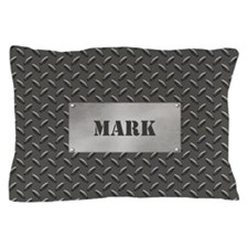 Faux Steel Name Plate Personalized Pillow Case