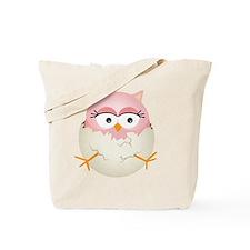 Cute Pink Baby Owl in Egg Tote Bag