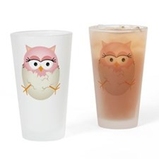 Cute Pink Baby Owl in Egg Drinking Glass