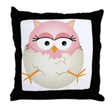 Cute Pink Baby Owl in Egg Throw Pillow