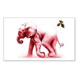 Christmas Baby Elephant Rectangle Decal