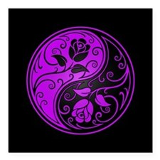 "Purple Yin Yang Roses Square Car Magnet 3"" x 3"""