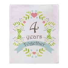 4th Anniversary flowers and hearts Throw Blanket