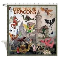 There Be Dragons Shower Curtain
