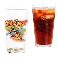 Orange Gold Dragonfly Splash Drinking Glass