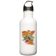 Orange Gold Dragonfly Splash Sports Water Bottle