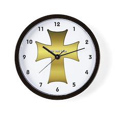 Golden Cross Wall Clock