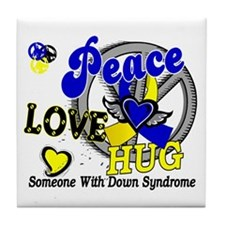 DS Peace Love Hug 2 Tile Coaster