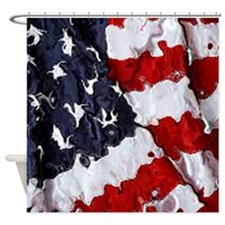 Painted Flag Shower Curtain