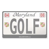 Maryland License Plate Sticker - GOLF