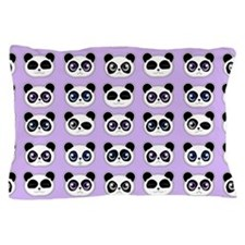 Cute Panda Expressions Pattern Purple Pillow Case