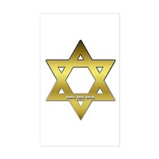 Gold Star of David Rectangle Decal