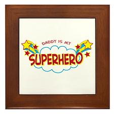 Daddy Superhero Framed Tile