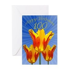 100th Birthday card, tulips full of sunshine Greet