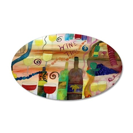 Wine time art 20x12 Oval Wall Decal