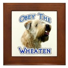 Wheaten Obey Framed Tile