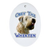 Wheaten Obey Oval Ornament