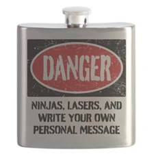 Personalized Danger Sign Flask