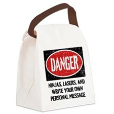 Personalized Danger Sign Canvas Lunch Bag