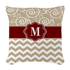 Beige Red Chevron Monogram Woven Throw Pillow