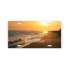 Gratitude Beach Sunset Mant Aluminum License Plate