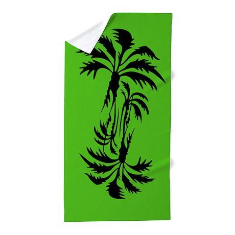 Green Palm Trees Beach Towel
