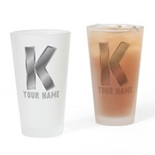 Custom Silver Letter K Drinking Glass