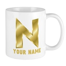Custom Gold Letter N Mugs