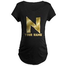 Custom Gold Letter N Maternity T-Shirt
