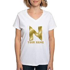 Custom Gold Letter N T-Shirt