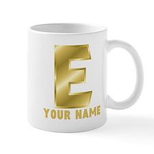 Custom Gold Letter E Mugs