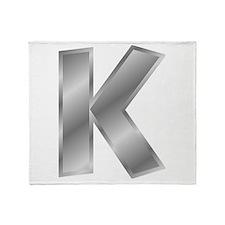 Silver Letter K Throw Blanket