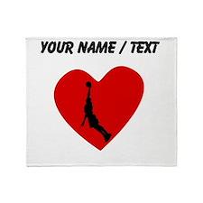 Custom Basketball Dunk Heart Throw Blanket