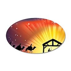 Christian Nativity Scene 20x12 Oval Wall Decal