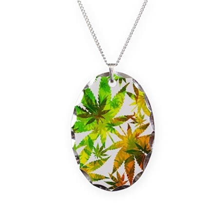 Marijuana Cannabis Leaves Pattern Necklace