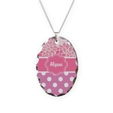Pink Floral Dots Personalized Necklace