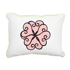 Petal Hearts in Pink Rectangular Canvas Pillow
