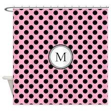 Pink Black Dots Monogram Shower Curtain