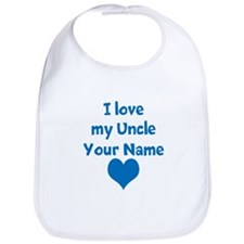 I Love My Uncle (Your Name) Blue Heart Bib