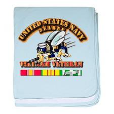 Navy - Seabee - Vietnam Vet baby blanket