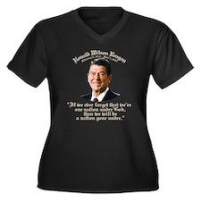Reagan Nation Under God Wm Plus Sz V-Neck Dk Tee