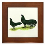 Black Sumatra Chickens Framed Tile